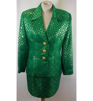 Patrick Steel Couture - Size: S - Green/gold - Skirt suit