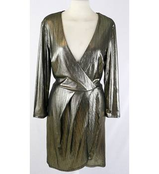 BNWT  New Look  size 10  old gold metallic polyester wrap-over dress