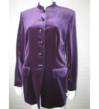 Women's Purple Velvet Jacket Jaeger - Size: 16 - Purple - Smart jacket / coat