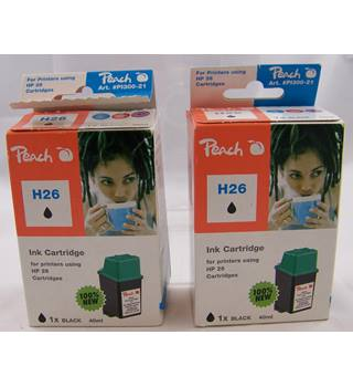 Two Peach #PI300-21 Alternative HP26 Black Ink Cartridges. Peach