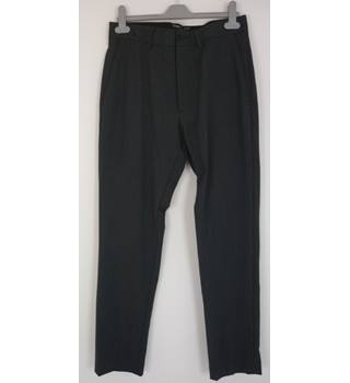 "M & S Size: S, 30"" waist, 31"" inside leg Charcoal Small Diamond Pattern Smart Wool Blend Slim Leg Flat Front Trousers"