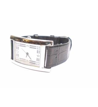 Rectangle face black genuine leather watch