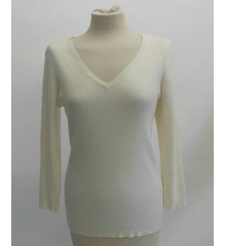 Ralph Lauren Cream V Neck Jumper Ralph Lauren - Size: L - Cream / ivory
