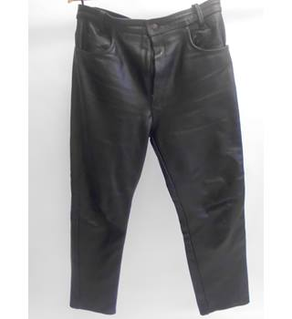 Black Leather Trousers - Size 34 inch - M/L