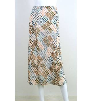 Marks & Spencer Blue / Brown / Cream / Pink Pattern Calf-Length Skirt UK Size 18 / Euro Size 46