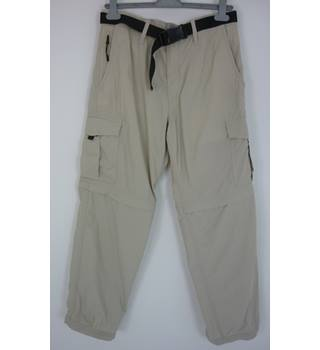 "M & S  Size: 34"" waist, 29"" inside leg Stone Grey Backpacking/Walking Cotton Blend Zip Off Leg Trousers"
