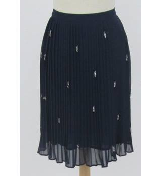 BNWT Zara size S  navy pleated with look-a-like jewellery embellishments skirt