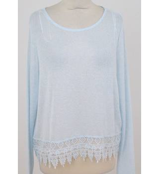 H&M - Size: L - Light Blue - Jumper with lace hem