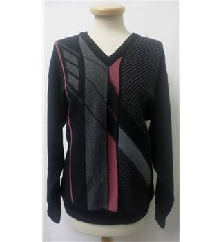 Pierre Sangan - Size: M - black/grey with red - Woolen sweater