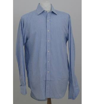 "T.M.Lewin size: collar: 16 1/2"" blue/white stripe long sleeved shirt"