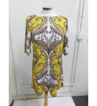 WOMENS Principles yellow brown and white patterned dress - SIZE 12 Principles - Size: 12 - Yellow - Evening dress