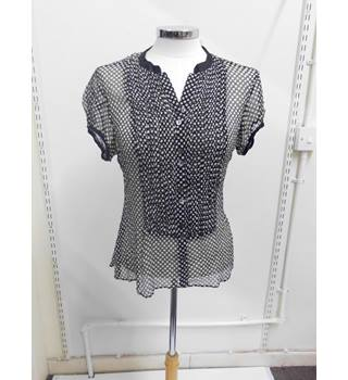 WOMENS COAST sheer black and white polka-dot blouse - SIZE 10 Coast - Size: 10 - Black - Blouse