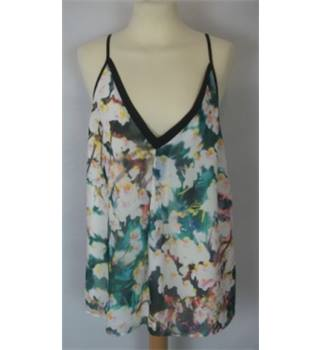 Coast  Size: 16  White and Green Floral Sleeveless Top