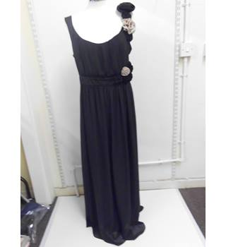 WOMENS NEXT black floor length dress with flowers - SIZE 14 Next - Size: 14 - Black - Sleeveless