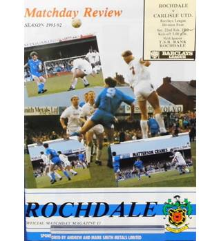 Rochdale v Carlisle United - Division 4 - 22nd February 1992