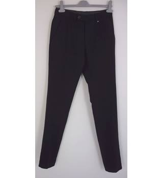 "Ted Baker Size: 28"" W, 34"" L Black Herringbone Stylish ""Endurance"" Designer Wool Tapered Leg Flat Front Trousers"