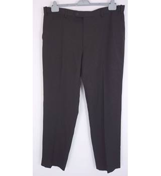"M & S Size: 42"" waist, 33"" inside leg Brown Choc Mix Twill Smart/Stylish Polyester Straight Leg Flat Front Trousers"
