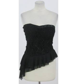 Krisp size S black lace asymmetrical bodice top