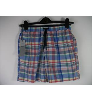 Marks & Spencer Blue Checked Swim Shorts Size Small