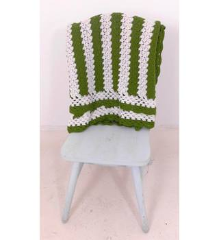 Green & White Striped Handmade Crochet Blanket