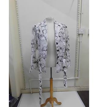 WOMENS Frank Walder white and brown floral skirt suit - jacket and skirt - SIZE 16