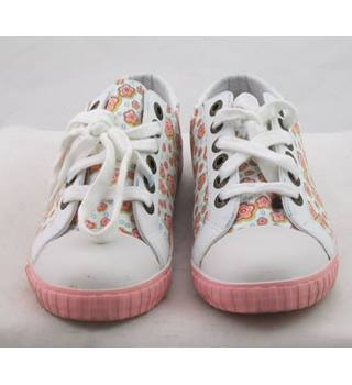 Kickers, size 4/37 white & pink mix floral print trainers