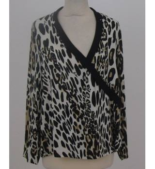 Biba size: 12 beige and black animal print top