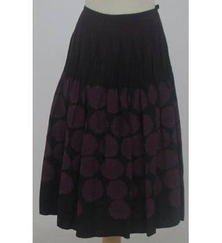 Per Una - Size: 10 - Black with grape colour floral - Smocking A-line skirt