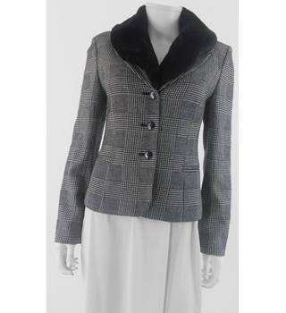 Blooming Dale's Size 10 (US size 6) Faux Fur Collar Grey Check Wool Blend Blazer