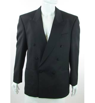 "Vintage - 1990s - St Michael from M&S - Size: 42"" - Black - Wool Mix - Double breasted dinner jacket"