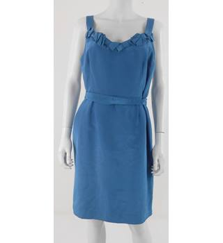 Principles Size 14 Blue Knee Length Dress With Ribbon Detailing