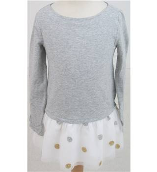 Lands' End, age 12-13 years grey/cream T-shirt style dress with netted skirt