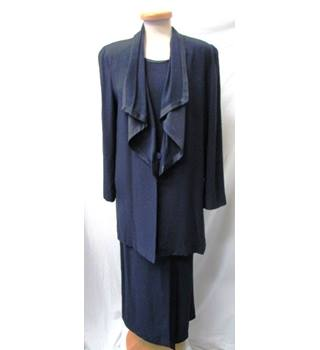 Jacques Vert - Size: 10 - Midnight Blue - Long-line 3 Piece Skirt Suit