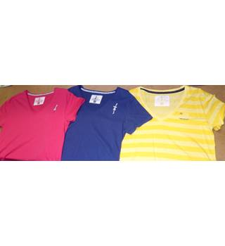 Alaise Breizh - Size: XXL -Pack of 3; raspberry red, navy blue& yellow striped  - T-Shirts