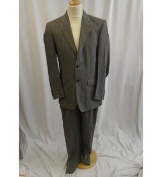 Linen Pinstripe Suit - Size: M - Grey - Single breasted suit