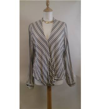 Top Shop size 12 black and white striped pattern blouse