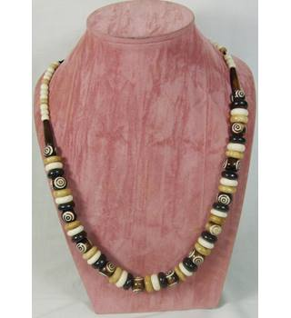 Natural Coloured Wood and Resin Donut Bead Necklace
