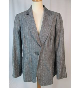 M&S Marks & Spencer Autograph - Size: 16 - Grey Stripe Linen  - Casual jacket / coat