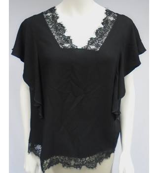 BNWT - Next - Size 16 - Black - Lace Detailed - Frilly Top