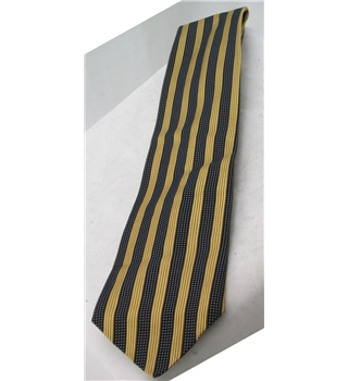 Next gold and charcoal striped silk tie