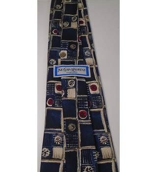 Yves Saint Laurent Block Pattern Silk Tie