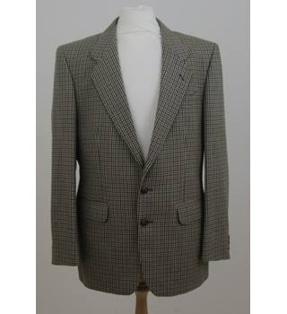M&S St. Michael size M cream, brown with hint of green check single breasted blazer