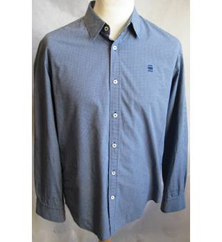 G Star Raw blue micro check 100% cotton shirt size XL G Star Raw - Size: XL - Blue - Long sleeved