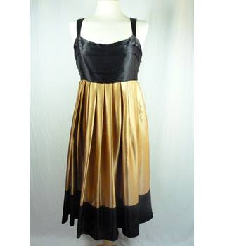 Zara Woman Silk Gold and Black Dress in Medium Size