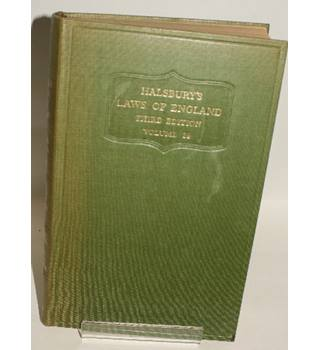 Halsbury's Laws of England Third Edition Volume 29