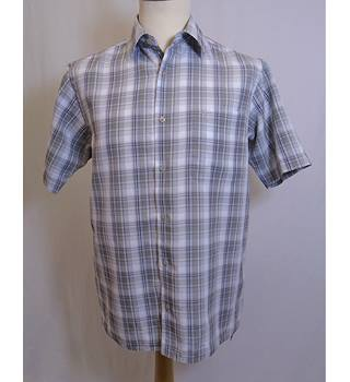 Wolsey - Size: S - Grey / Taupe - Short sleeved check shirt