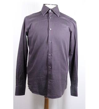 Hugo Boss Purple Striped Long Sleeve Cotton Shirt in 15 inch Collar Size