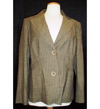 BNWT Marks and Spencer - Per Una Size 16  Dark beige Single breasted Pinstripe Jacket