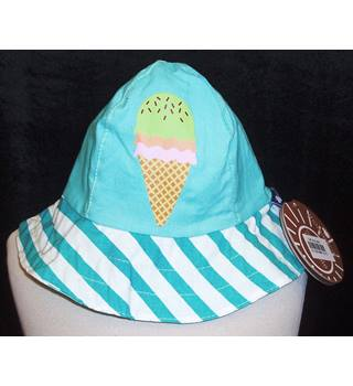 BNWT ItsImagical Age 0 - 3 years Turquoise Sunhat with striped brim and Icecream motif