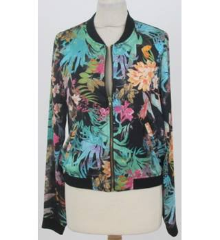 Pimkie Size M Black with orange, green and floral pattern jacket